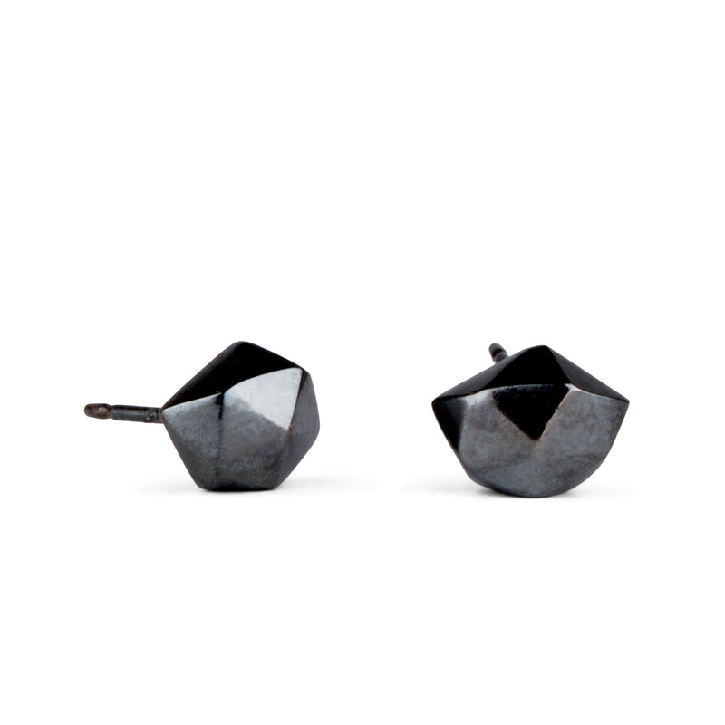 Oxidized Silver Tiny Fragment Stud Earrings by Corey Egan