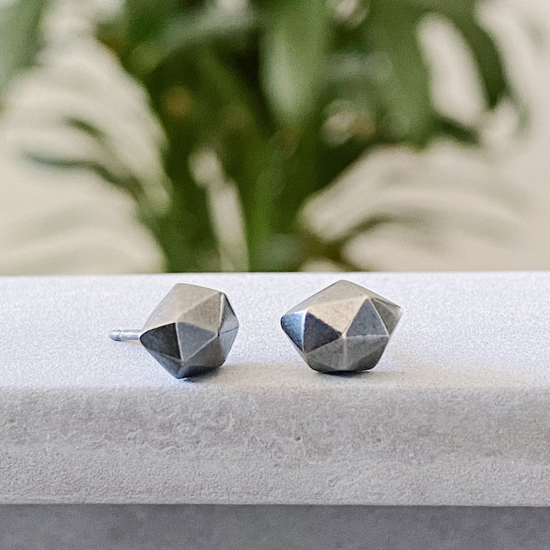 Oxidized Silver faceted stud earrings