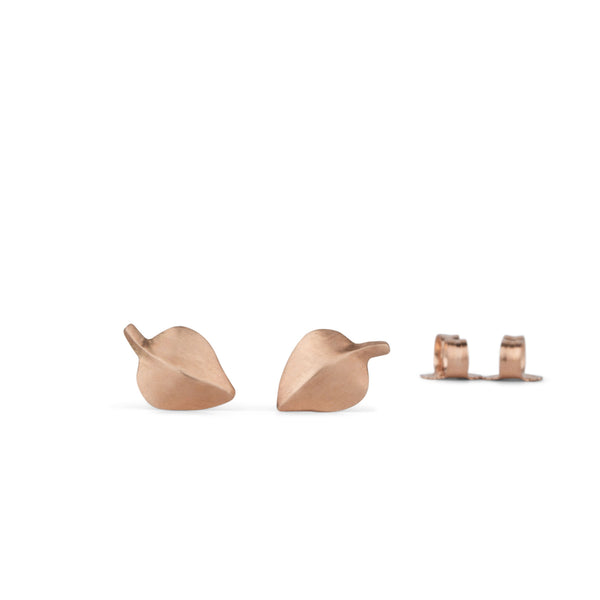 Rose Gold Aspen Leaf Stud Earrings by Corey Egan