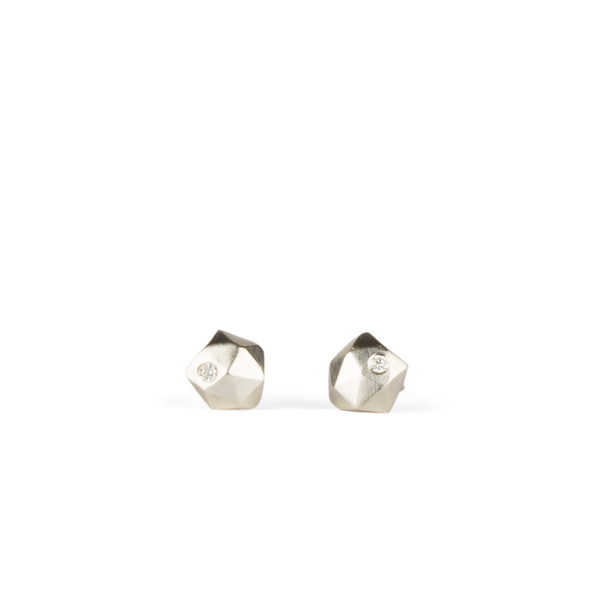 Silver and Diamond Micro Fragment Stud Earrings by Corey Egan