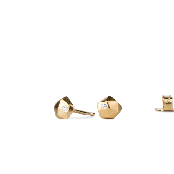 Vermeil Micro Fragment Diamond Stud Earrings by Corey Egan