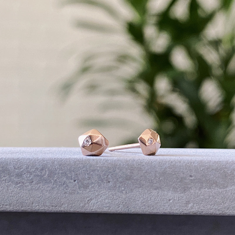 Rose Gold and Diamond Micro Fragment Stud Earrings by Corey Egan