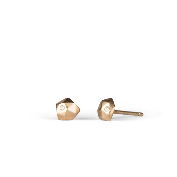 Yellow Gold and Diamond Micro Fragment Stud Earrings by Corey Egan