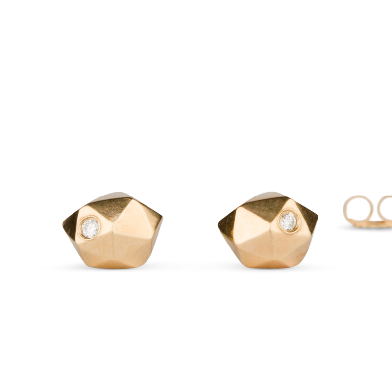 Gold and Diamond Tiny Fragment Stud Earrings by Corey Egan