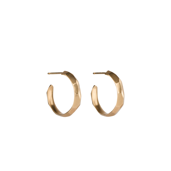 Gold Faceted Denali Hoop Earrings by Corey Egan