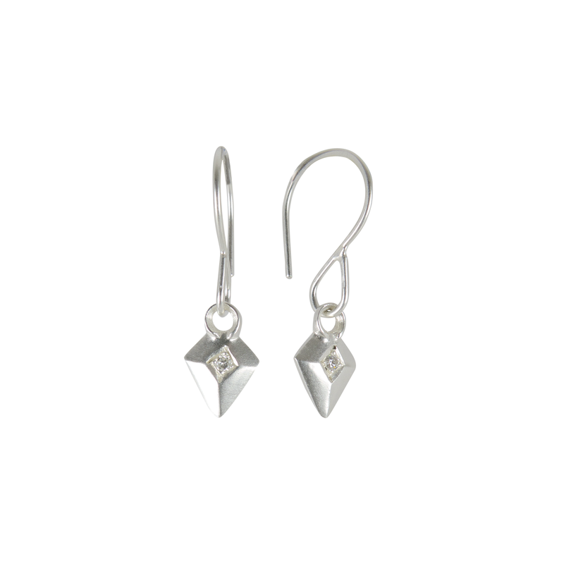 Silver and Diamond Deco Arrow Earrings