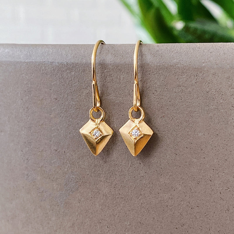Deco Diamond Arrow Vermeil Earrings | Corey Egan