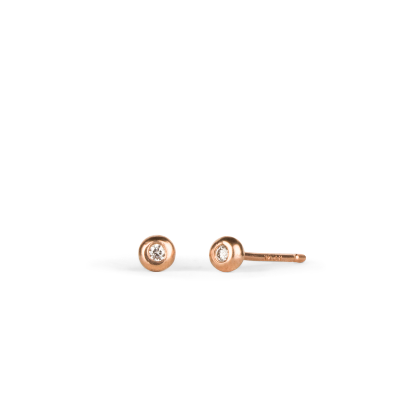 Rose Gold Diamond Droplet Studs by Corey Egan