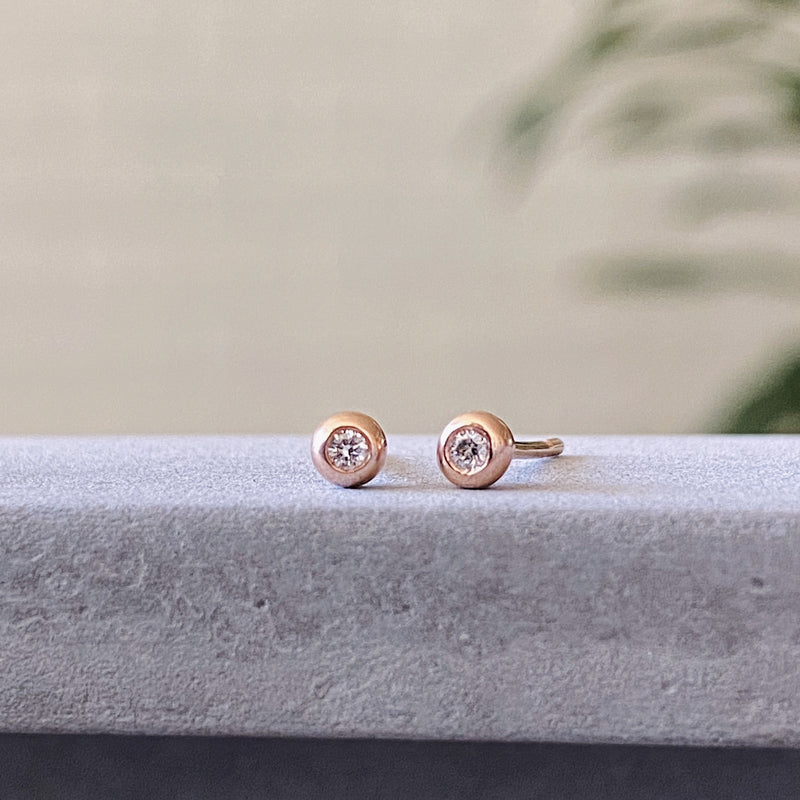 Rose Gold Diamond Droplet Studs