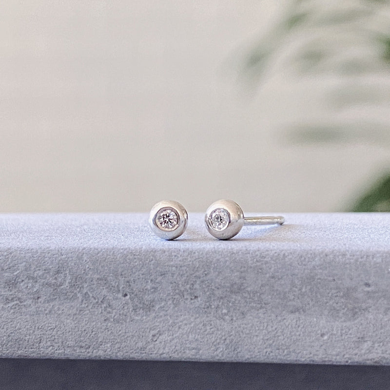Silver Diamond Droplet Studs