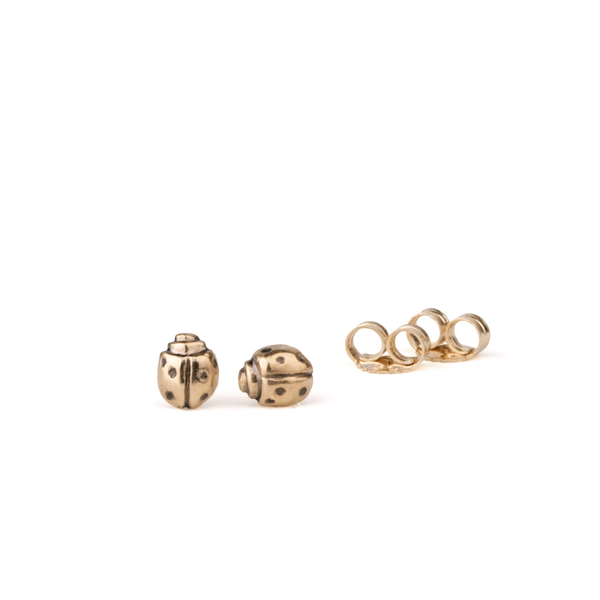 Gold Ladybug Stud Earrings by Corey Egan