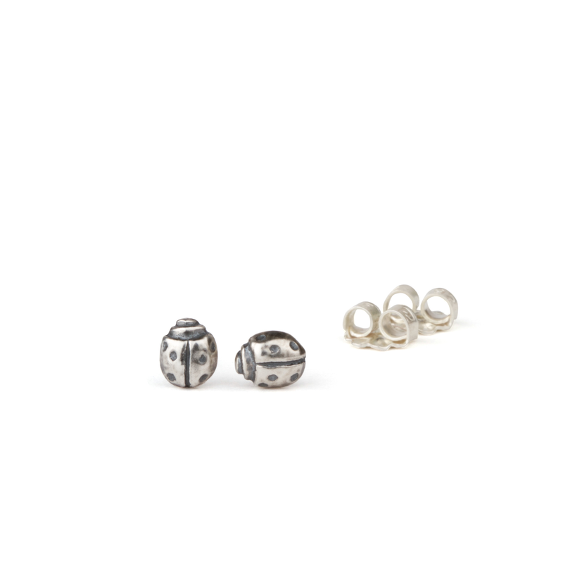 Silver Ladybug Stud Earrings by Corey Egan