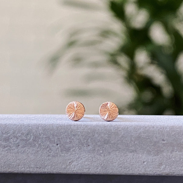 Engraved tiny rose gold stud earrings