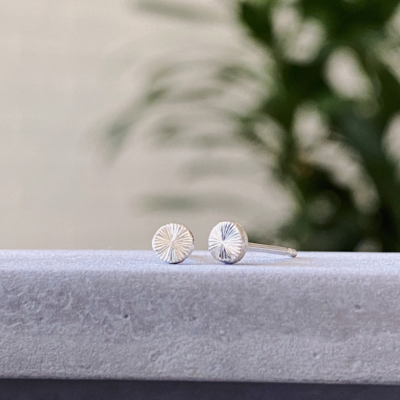 Engraved tiny silver stud earrings