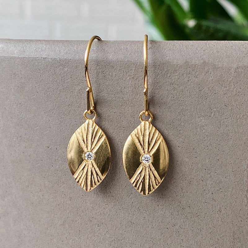Vermeil Lumens Eye Dangle Earrings by Corey Egans