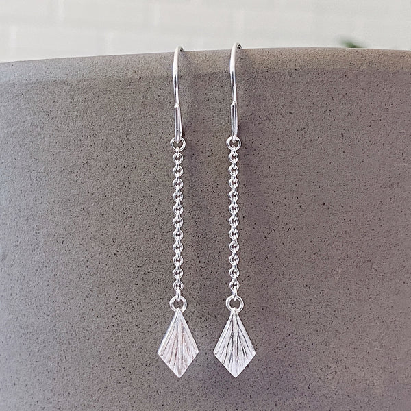 Silver Flame Linear Dangle Earrings by Corey Egan