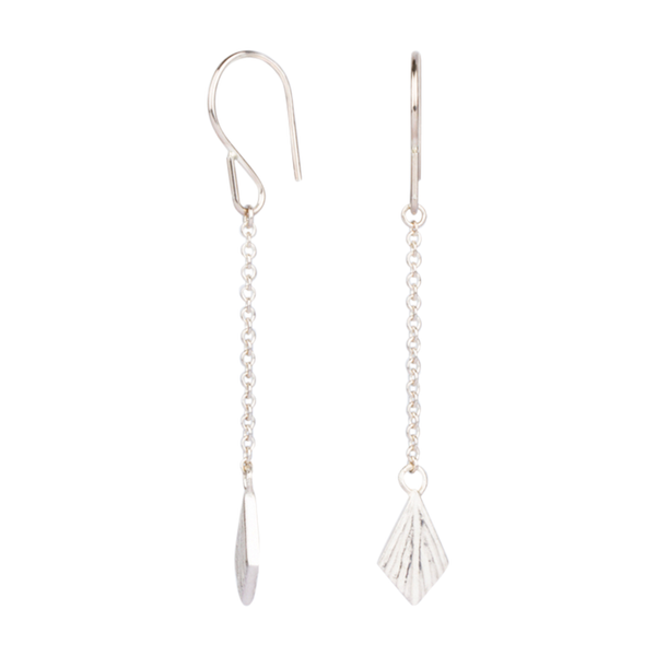 Flame Long Silver Dangle Earrings