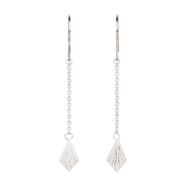 Silver Flame Linear Dangle Earrings