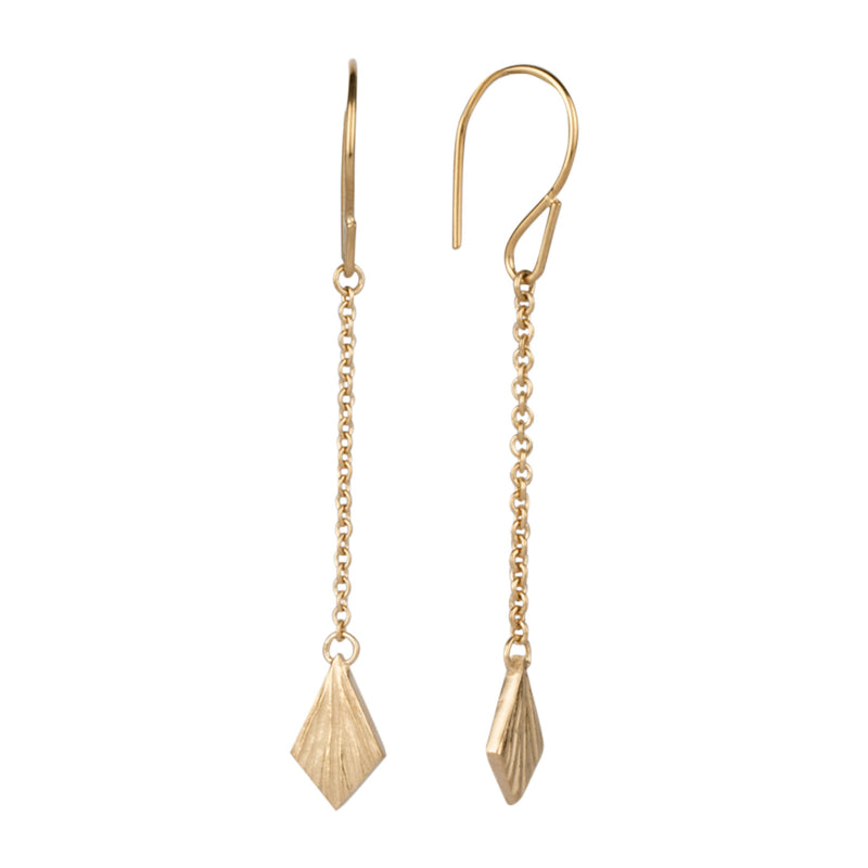 Vermeil Flame Linear Dangle Earrings by Corey Egan