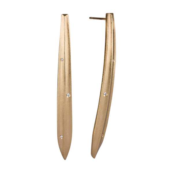 Gold and Diamond Scribe Earrings by Corey Egan