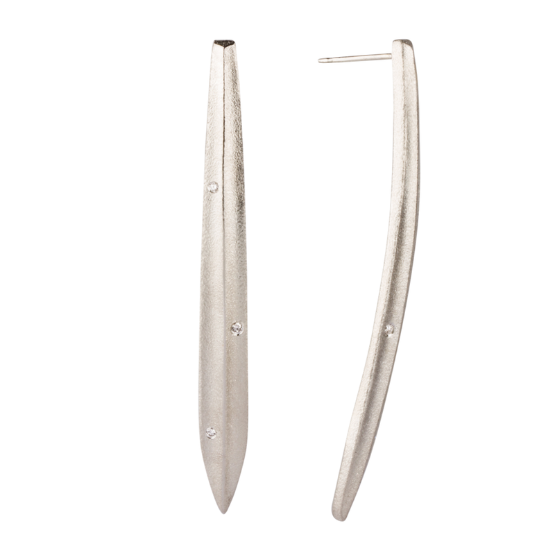 Silver and Diamond Scribe Earrings by Corey Egan
