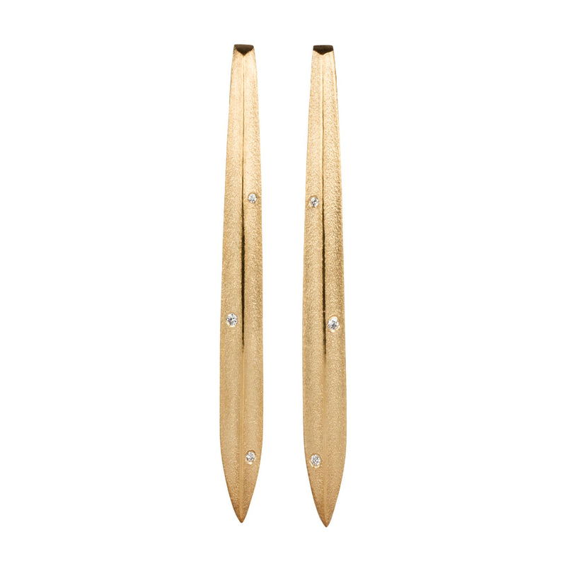 Scribe Vermeil Diamond Earrings | Corey Egan
