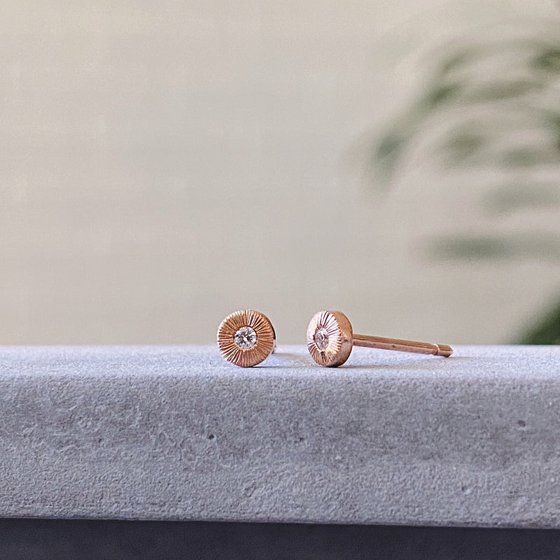 Rose gold and diamond engraved tiny stud earrings
