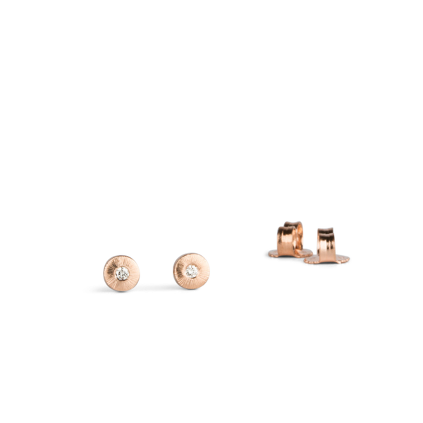 Rose Gold and Diamond Rise Studs by Corey Egan