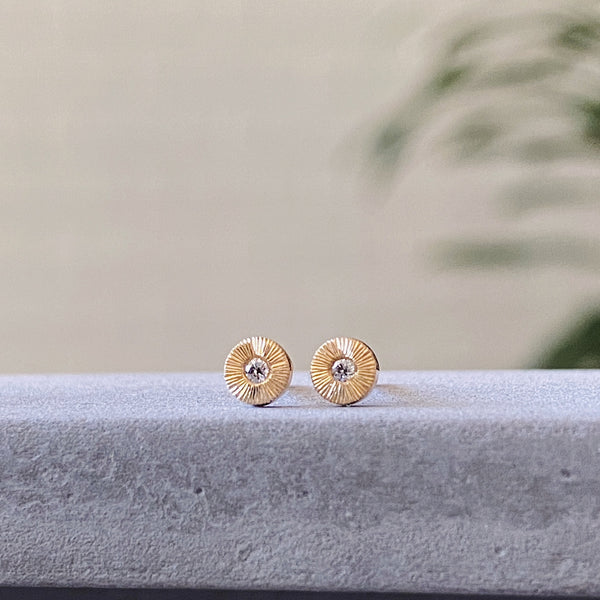 Engraved tiny gold and diamond stud earrings