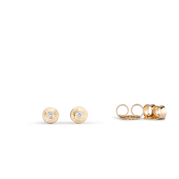 Rise Gold and Diamond Engraved Stud Earrings by Corey Egan