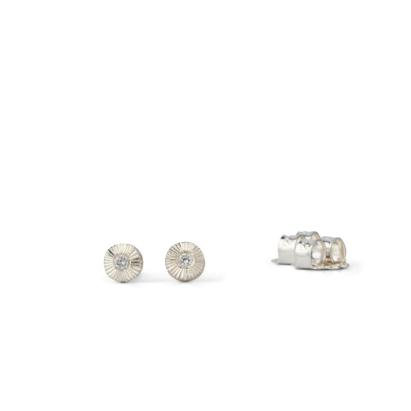 Tiny engraved silver and diamond studs