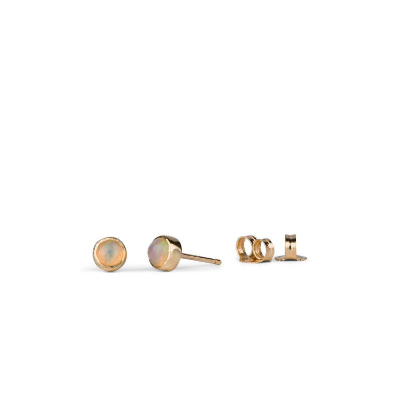 Gold and Opal Cabochon Stud Earrings by Corey Egan