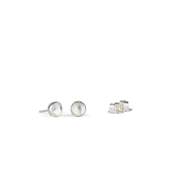 Silver Moonstone Cabochon Studs