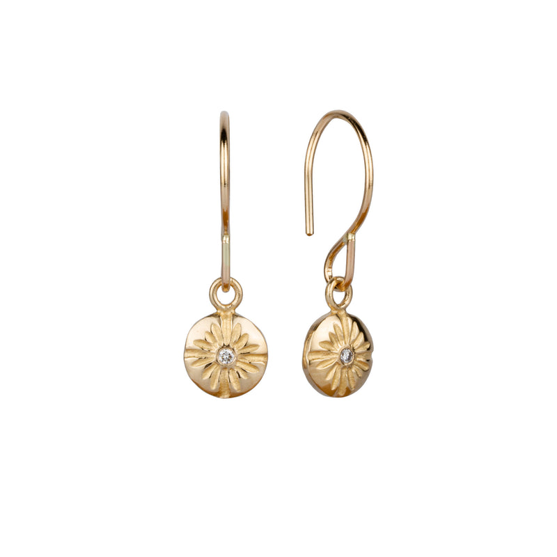 Gold and Diamond Small Corona Dangle Earrings | Corey Egan