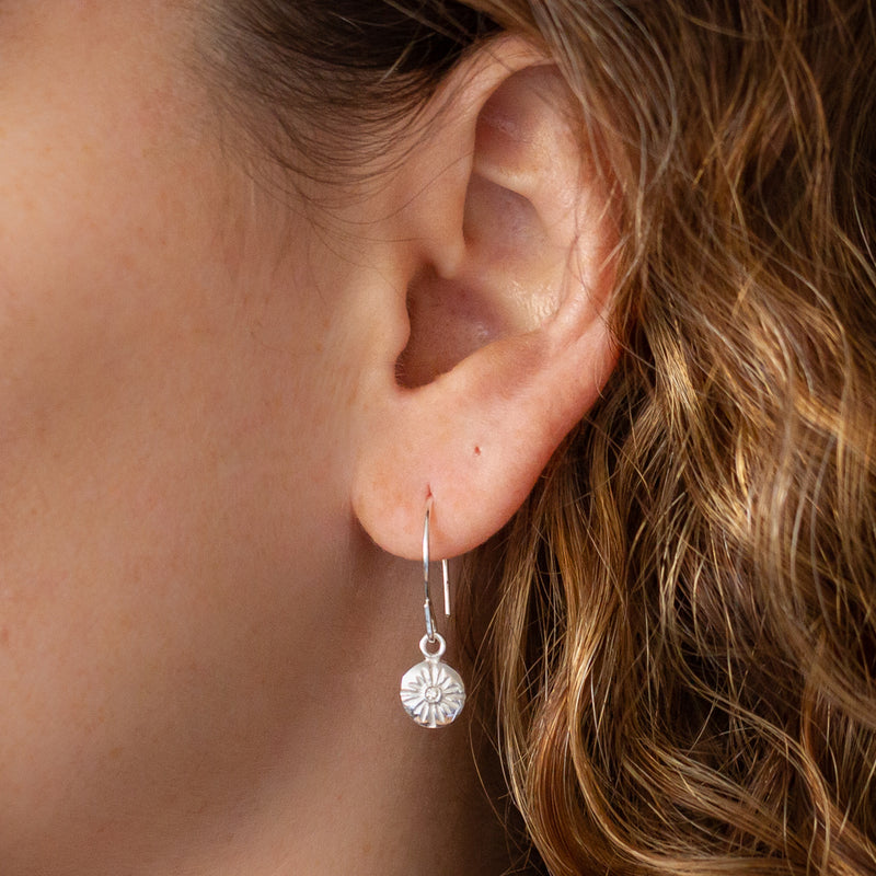 Lucia Small Dangle Earrings in Silver | Corey Egan