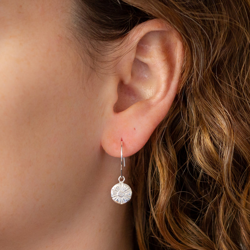 Lucia Medium Diamond Stud Earrings in Silver | Corey Egan