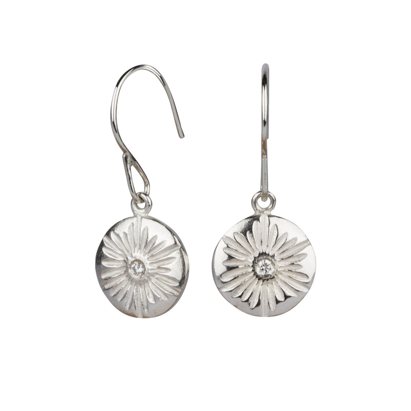 Large Corona Silver Diamond Dangle Earrings | Corey Egan