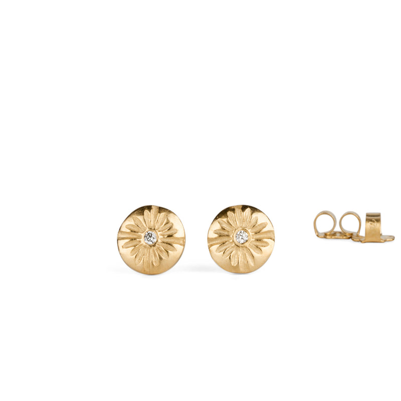 Small Corona Diamond Vermeil Stud Earrings by Corey Egan