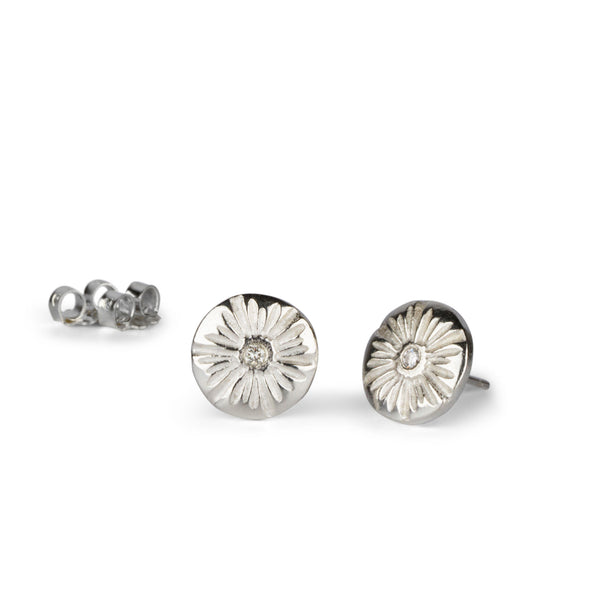 Corona Medium Diamond Stud Earrings in Silver | Corey Egan