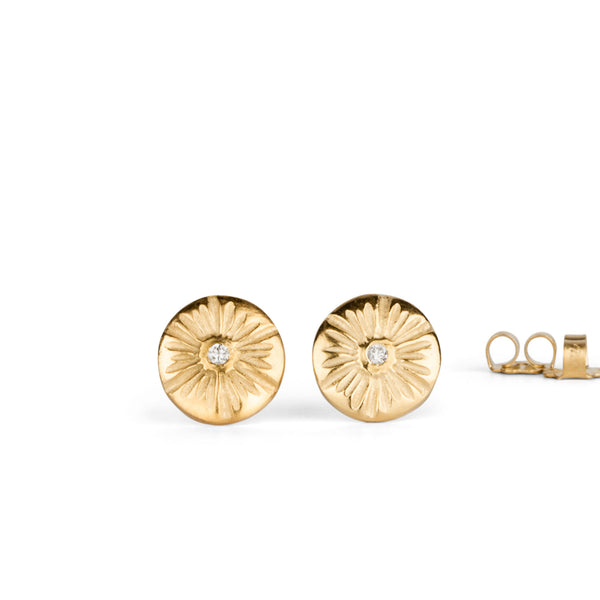 Corona Medium Diamond Stud Earrings in Vermeil | Corey Egan