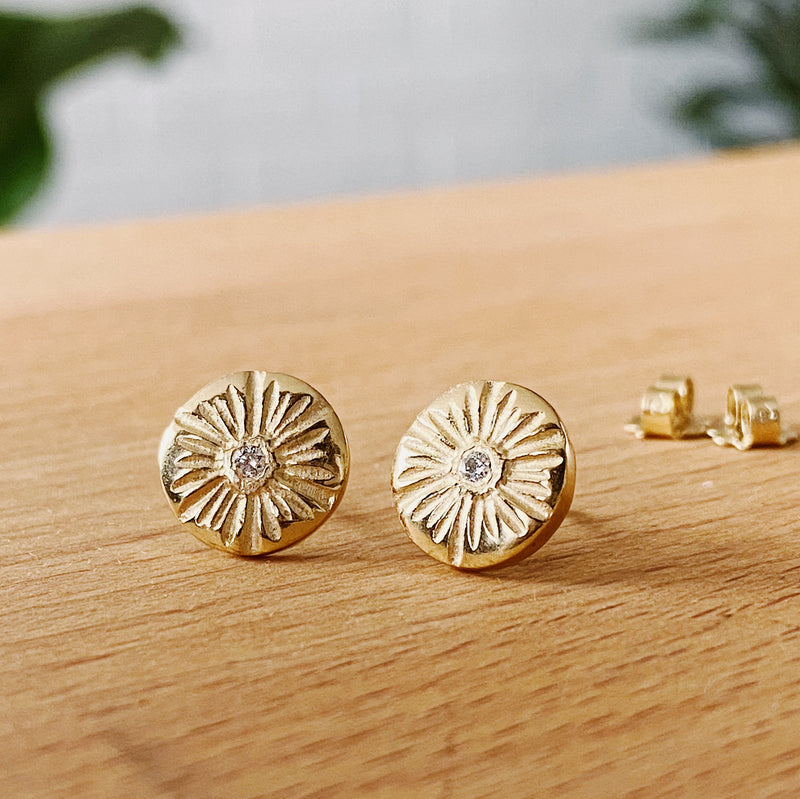 Lucia Medium Diamond Stud Earrings in Vermeil | Corey Egan