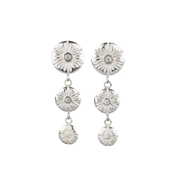 Silver and Diamond Corona Triple Drop Chandelier Earrings | Corey Egan