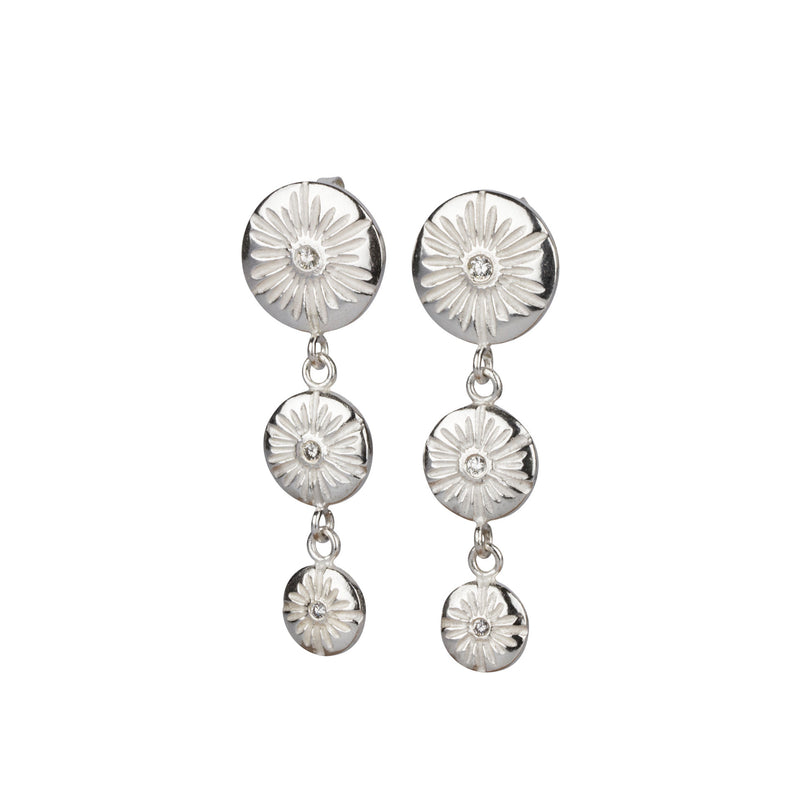 Silver and Diamond Lucia Triple Drop Chandelier Earrings | Corey Egan