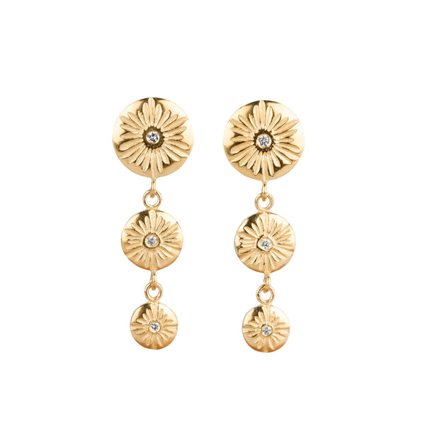 Triple Drop Lucia Earrings in Vermeil by Corey Egan