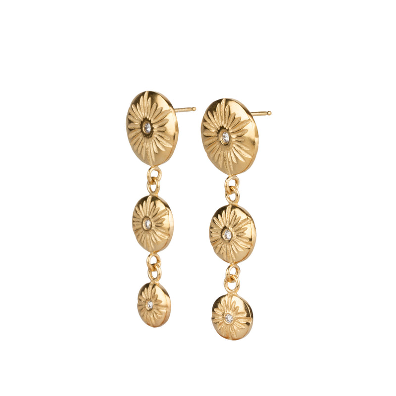 Triple Drop Corona Earrings in Vermeil by Corey Egan