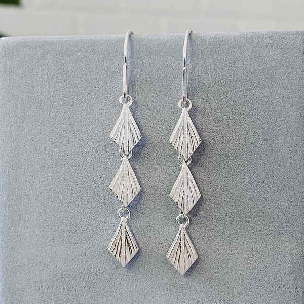 Flame Cascade Silver Dangle Earrings by Corey Egan