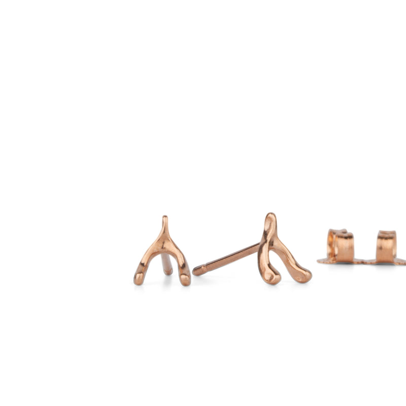 Rose Gold Wishbone Stud Earrings