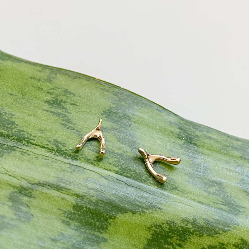 14k Yellow Gold Wishbone Stud Earrings by Corey Egan