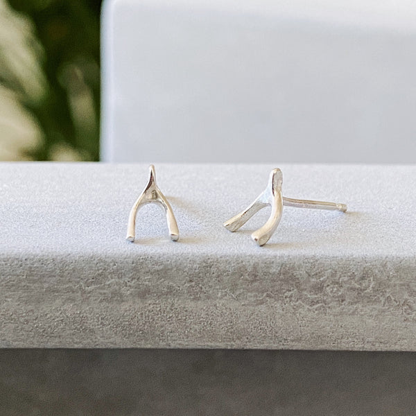 Silver Wishbone Stud Earrings by Corey Egan