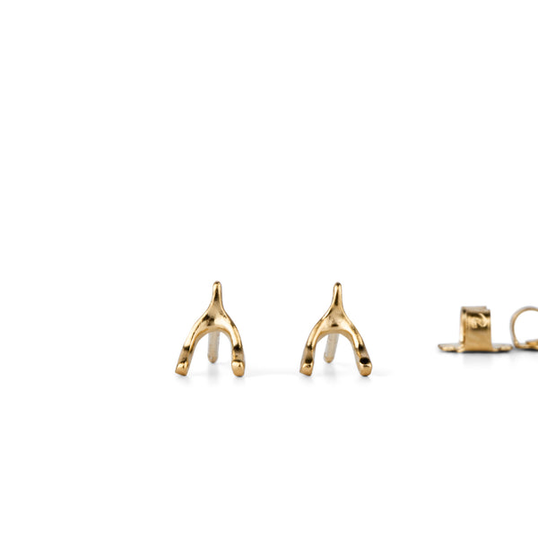 Vermeil Wishbone Stud Earrings by Corey Egan